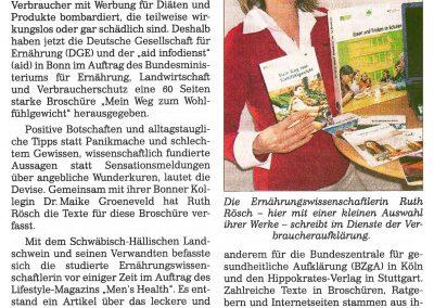 Ruth Rösch - Zeitungsarikel - Vom Wohlfühlgewicht bis zum fast ausgestorbenen Schwein