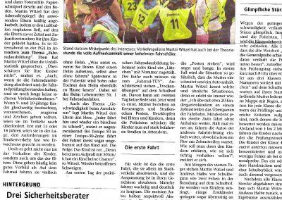 Ruth Rösch - Zeitungsartikel: Flügge werden im Straßenverkehr